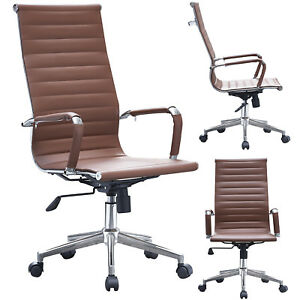 High back Modern Ribbed Upholstered Pu Leather Adjustable Office Chair Desk Seat