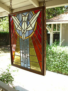 Church Stained Glass Window Vintage Original Jesus Baptism Holy Spirit Dove Art