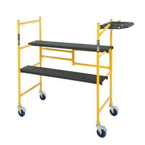 Mini Rolling Scaffold 500lb Load Capacity Tool Shelf Work Bench Lightweight Kit