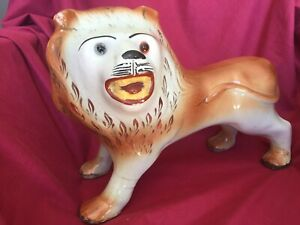 Antique 1890s Staffordshire Porcelain Large Standing Lion With Glass Eyes Rare