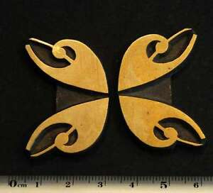 2 X Art Nouveau Ornament Bookbinding Brass Type Letterpress Hot Stamp Hotfoil