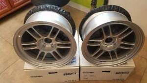 Enkei Rpf1 2 17x9 35mm And 2 17x 10 0 38 Silver Finish Set Of 4 Wheels