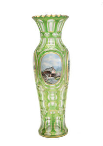 German Bohemian Moser Green Art Glass Hand Painted Porcelain Plaque Vase C1900