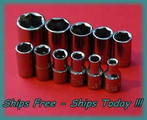 Craftsman 1 4 Drive 11 Piece 6 Pt Point Sae Socket Set Standard Inch Std