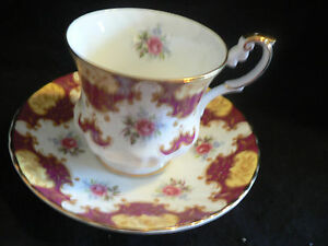 Rosina Maroon Mofit Surrounding Pink Flower Tea Cup And Saucer