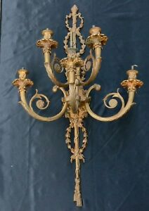 Antique Brass Bronze French Wall Sconce 5 Light Lamp Electrified Gas Candelabra