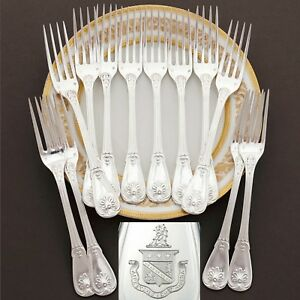 Puiforcat Antique French Sterling Silver Armorial Dinner Forks Set Coat Of Arms