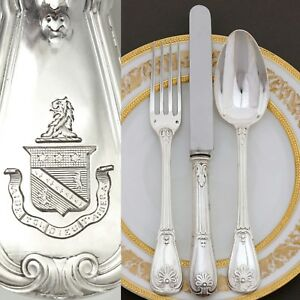 36pc Antique French Sterling Silver Puiforcat Armorial Dinner Flatware Set