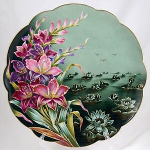 French Limoges Hand Painted Porcelain Plate Charger Purple Lotus Flowers Gold