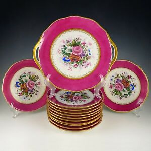 Antique French Limoges Porcelain Dessert Plates Tray Set Hand Painted Pink Gold