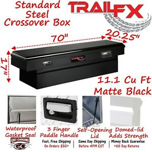 110703s Trailfx 70 Matte Black Steel Crossover Truck Tool Box Single Lid