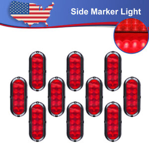 10x Bright Red 10led 6 Oval Turn Signal Light W flange Mount Fit Truck Trailer