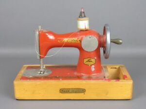 Vintage Toy Miniature Model Sewing Machine Wood And Iron