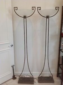 2 Floor Lamps Versace Maitland Smith Deco Grecian Mid Century Modern Style Pair