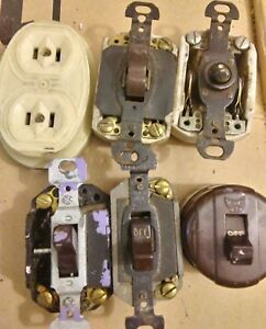 Lot Of Vintage Porcelain Ceramic Switches Hubbell Eagle