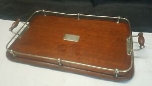Antique Vintage Wooden Serving Butler Tray With Silver Plated Handles