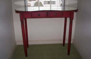 Vintage 1950 Antiqued Red Vanity With Mirror Surface