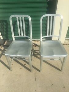 2 Vintage Goodform Navy Or Emeco Brushed Aluminum Chairs