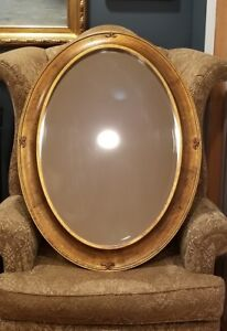 Vintage Golden Oval Wood Like Frame Wall Mirror 38 X 28