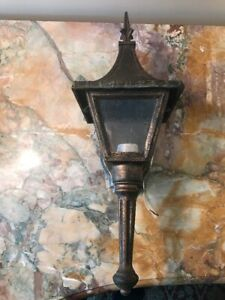 Vintage Bronze Metal W Glass Carriage Electric Sconce Light Phil Hinkley Usa