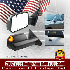 Power Heated Turn Light Pair Tow Mirrors For 2002 2003 2007 2008 Dodge Ram