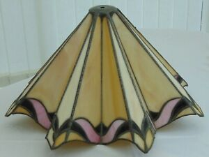 Vintage Art Deco Tiffany Style Stained Leaded Slag Glass Lampshade Brestin