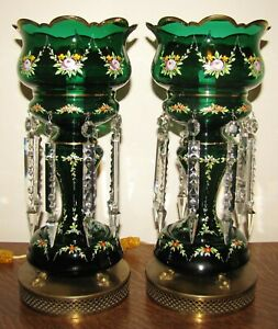 Pair Emerald Green Hand Painted Enamel Glass Mantle Lamp Luster Prisms Bohemian