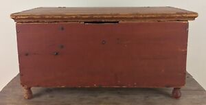 Antique Red Painted Pine Miniature Blanket Chest For Doll Document Box Ca1820 Pa