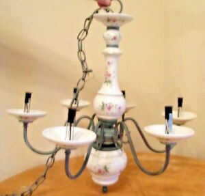 Vintage Hand Painted Italian Porcelain 6 Arm Chandelier Pink Yellow Flowers