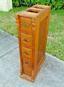 Antique 4 Drawer Wilcox Gibbs Sewing Machine Cabinet Frame With Oak Drawers