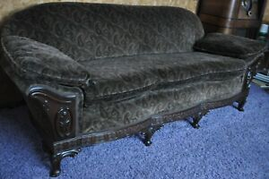 Recovered Dark Brown Paisley East Lake Victorian Sofa