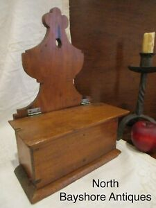 Antique 1700s New England Primitive Pine Wood Lift Top Compartment Wall Box Aafa