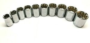 Husky 10 Pc Socket Set 1 2 Drive 12 Point Stnd Well Sae 1 2 1 1 16 Chrome