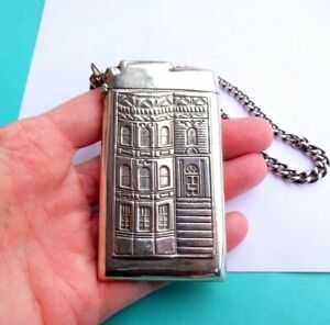 Vintage Sterling Silver Repousse Brownstone Match Vesta And Chain