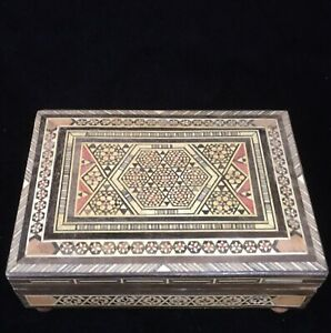 Inlaid Micro Mosaic Marquetry Wood Box Music Box