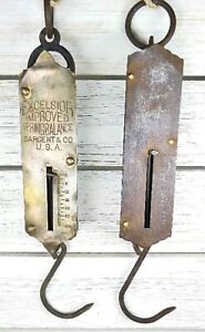Lot Of 2 Antique Metal Hanging Scales With Hooks 50 Lbs Primitive Rustic Wall