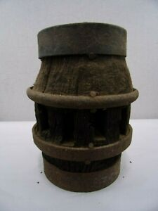 Antique Wagon Wheel Hub Heavy Wood And Iron 12 Spokes Vintage 1 End Fire Damage