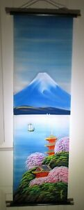 Signed Japanese Summer Hand Painted Dyed Scroll Wall Art Bright Colors 38 5