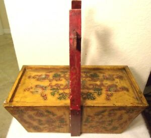 A Vintage Chinese Interiors Wooden Hand Painted Wedding Picnic Basket Dough Box