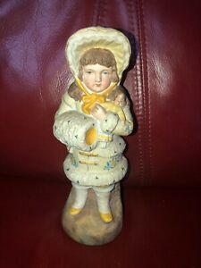 Antique Heubach German Piano Baby Bisque Figurine Girl Holding Doll 7 1 2