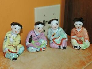 4 Chinese Famille Rose Children 3 5 Playing Musical Instruments Vintage China