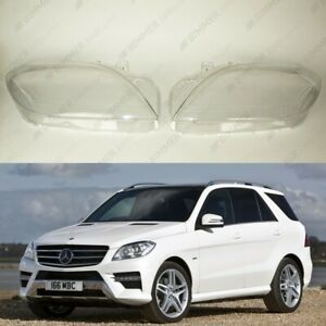 Mercedes benz Ml W166 11 15 Headlight Lens Plastic Cover Pair Adhesive
