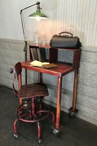 Vintage Industrial Steel Desk And Drafting Stool Chair