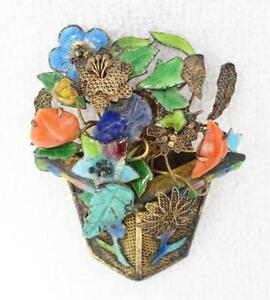 Antique Chinese Silver Filigree Enamel Coral Turquoise Lapis Flowers Brooch