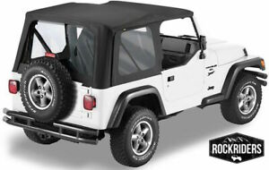 1997 2006 Jeep Wrangler Tj Replacement Soft Top With Clear Rear Windows Black