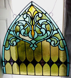 Antique Church Stained Glass Window Architectural Salvage Gothic Arch 3963c