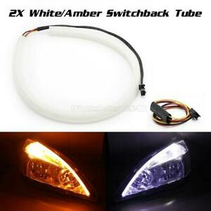 2pcs 45cm Tube White Amber Switchback Turn Signal Led Strip Drl Light For Audi
