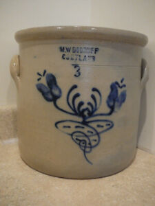 Antique Stoneware Crock Cobalt Blue M Woodruff Cortland Ny Double Flower 3 Gal