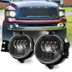 2pcs Led Fog Light Lamp Bright For Dodge Ram 1500 2500 3500 2002 2008 Black