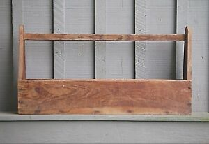 Old Vintage Primitive Carpenter S Wooden Tool Box Caddy Tote Rustic Wood Decor